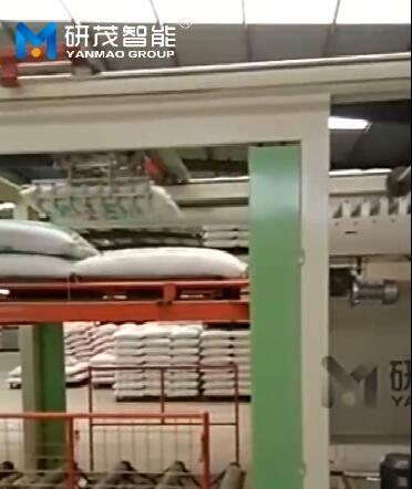 50kg大袋子编织袋化肥码垛机视频